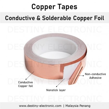 Copper Tapes, Single Side Conductive, Adhesive, 3mm - 40mm width [225105894 - 2251059K]