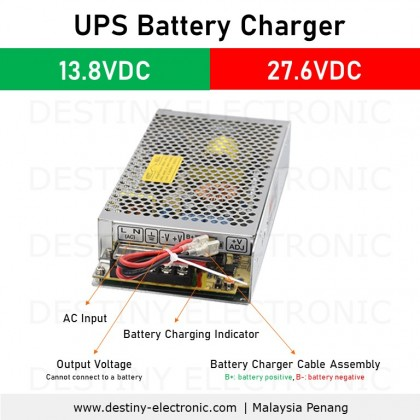 UPS Battery Charger, 13.8VDC / 27.6VDC, Low Cost Embedded Switching Power Supply, 35W - 180W [85250700 - 8525707]