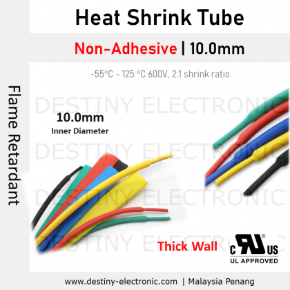 [1 meter] Heat Shrink Tubing | 10.0mm, Non-Adhesive, Colours, Ratio 2:1 [1401221-1401227]
