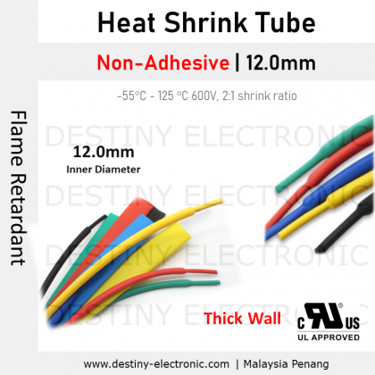 [1 meter] Heat Shrink Tubing | 12.0mm, Non-Adhesive, Colours, Ratio 2:1 [1401241-1401245]