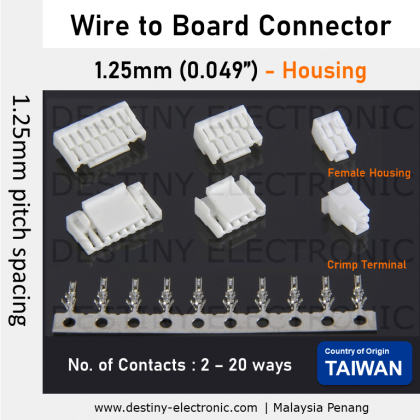 1.25mm Connector, Taiwan, Wafer (Right Angle), SMD [12512132-12512150]