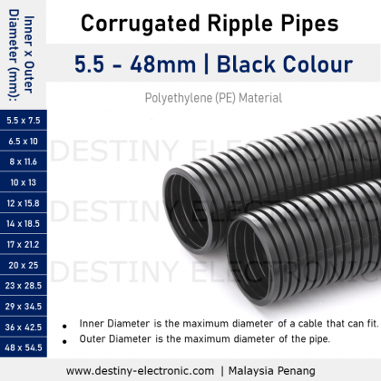 """Flexible Corrugated Conduit, PVC Ducting, Ripple Pipes, 7.5mm - 80mm, 1/4"""" - 2"""" (1 meter)"""